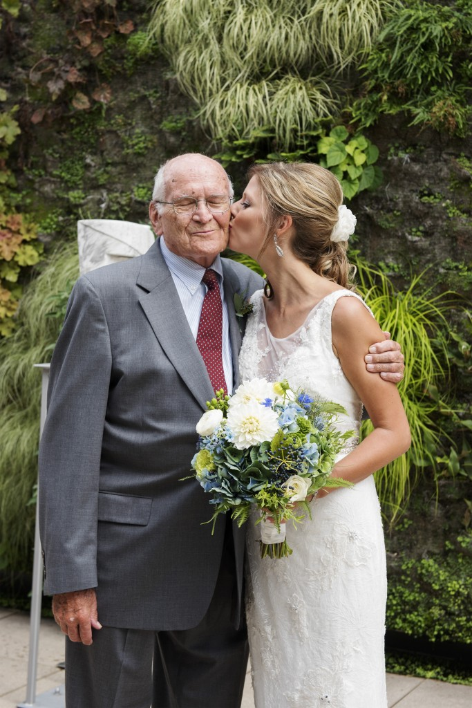 Bride with Grandpa and Bouquet